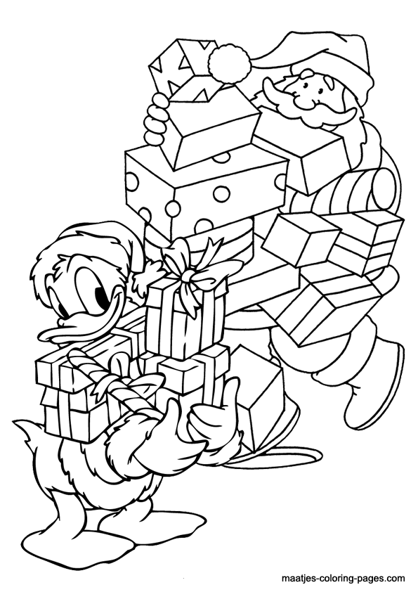 Donald duck christmas coloring pages