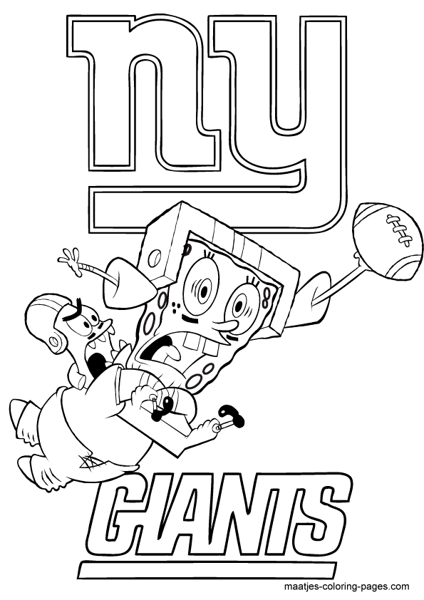 Nfl New York Giants Spongebob Coloring Page Ny Giants Coloring Pages