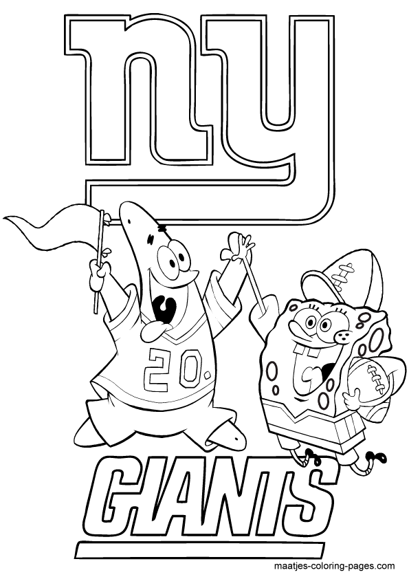 nfl new york giants spongebob coloring page