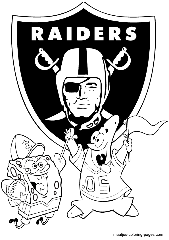 NFL Oakland Raiders SPongeBob Coloring Page