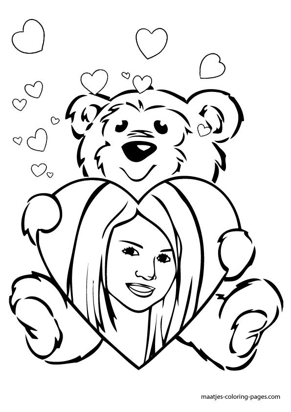 Selena Gomez Valentines day coloring pag