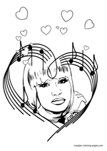 nicki minaj coloring pages for kids | Famous people Valentines Day coloring pages